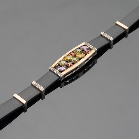 Каучуковый браслет с серебром т золотом арт. 501б