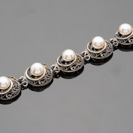 Серебряный браслет с жемчугом арт. 490б 17 см