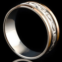 Серебряное обручальное кольцо с золотом арт. 60/76к