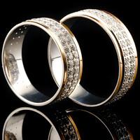 Серебряное обручальное кольцо с золотом арт. 60/62к