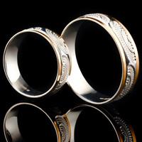 Серебряное обручальное кольцо с золотом арт. 60/55к