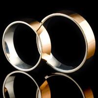 Серебряное обручальное кольцо с золотом арт. 60/49к