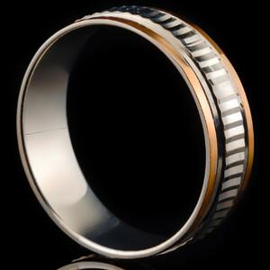 Серебряное обручальное кольцо с золотом арт. 60/38к