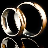 Серебряное обручальное кольцо с золотом арт. 50/46к