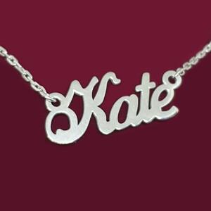 Серебряное колье с именем Kate