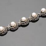 Серебряный браслет с жемчугом арт. 490б 22,5 см