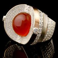 Кольцо серебряное с кабошоном и золотыми вставками арт. 437к