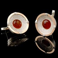 Серебряные серьги 925 пробы с кабошоном и золотом арт. 437с
