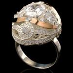 Серебряное кольцо 925 пробы с золотом арт. 438к