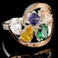 Серебряное кольцо 925 пробы с золотом арт. 463к
