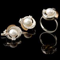 Серебряные кольца с жемчугом и золотом арт. 489к