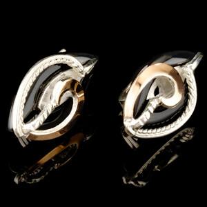 Серьги серебряные 925 пробы с золотыми вставками арт. 512с