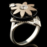 Кольцо серебряное 925 пробы с золотом арт. 515к