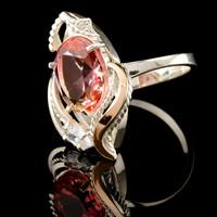 Серебряное кольцо 925 пробы с золотом арт. 519к