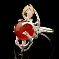 Кольцо серебряное с кабошоном и золотыми вставками арт. 527к