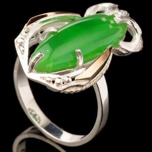 Серебряное кольцо 925 пробы с золотыми вставками и кабошоном арт. 525к