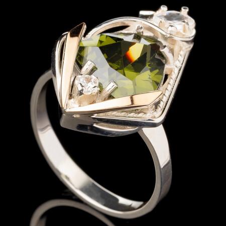 Серебряное кольцо 925 пробы с золотом арт. 526к