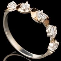 Серебряное кольцо 925 пробы с золотом арт. 434к