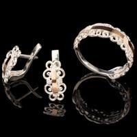 Серебряное кольцо 925 пробы с золотом арт. 548к