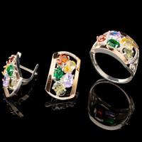 Серебряное кольцо 925 пробы с золотом арт. 558к