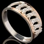 Серебряное кольцо 925 пробы с золотом арт. 551к