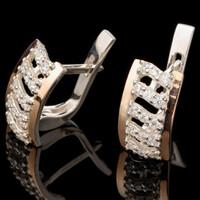 Серебряные серьги 925 пробы с золотом арт. 551с