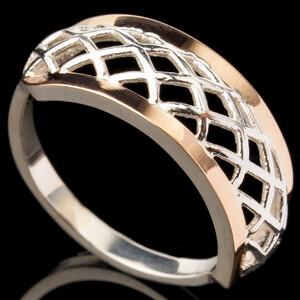Серебряное кольцо 925 пробы с золотом арт. 565к