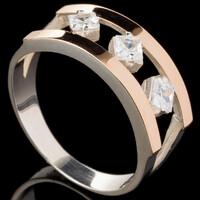 Серебряное кольцо 925 пробы с золотом арт. 572к