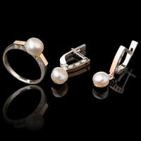 Серебряные кольца с жемчугом и золотом арт. 563к