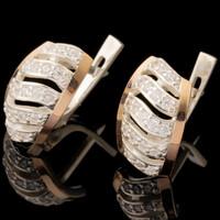 Серебряные серьги 925 пробы с золотом арт. 561с