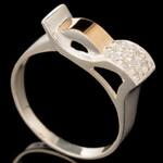 Серебряное кольцо 925 пробы с золотом арт. 576к