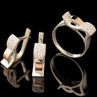 Серебряные серьги 925 пробы с золотом арт. 576с
