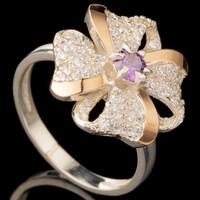 Серебряное кольцо 925 пробы с золотом арт. 587к