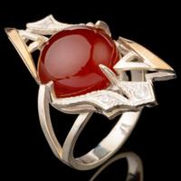Кольцо серебряное с кабошоном и золотыми вставками арт. 588к