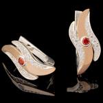 Серебряные серьги 925 пробы с золотом арт. 601с