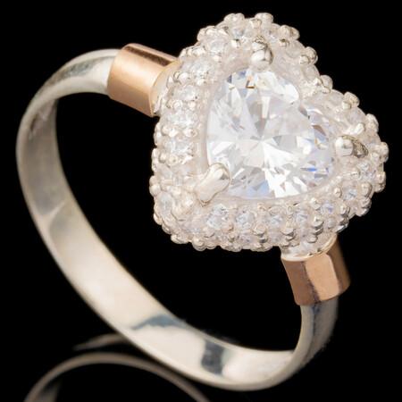 Серебряное кольцо 925 пробы с золотом арт. 602к