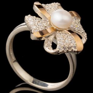 Серебряные кольца с жемчугом и золотом арт. 603к