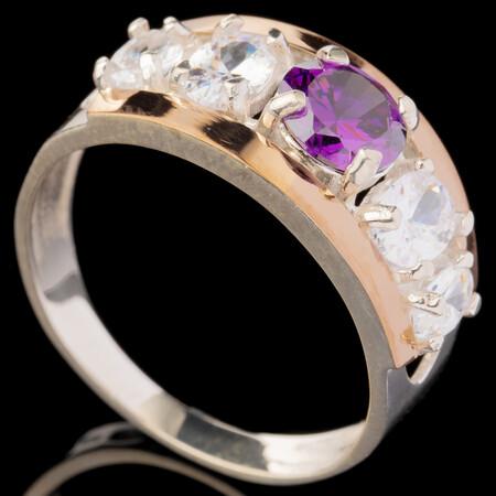 Серебряное кольцо 925 пробы с золотом арт. 606к