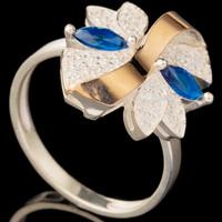 Серебряное кольцо 925 пробы с золотом арт. 608к