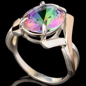 Серебряное кольцо 925 пробы с золотом арт. 455к