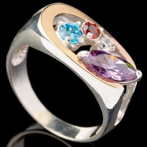 Серебряное кольцо 925 пробы с золотом арт. 465к