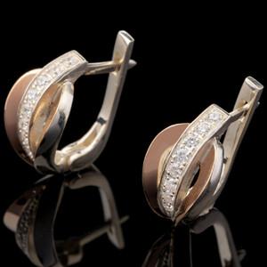 Серебряные серьги 925 пробы с золотом арт. 486с