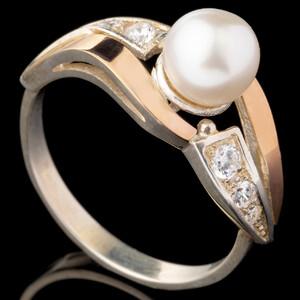 Серебряные кольца с жемчугом и золотом арт. 488к