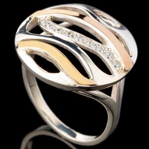 Серебряное кольцо 925 пробы с золотом арт. 496к
