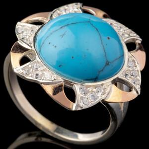 Кольцо серебряное с кабошоном и золотыми вставками арт. 540к