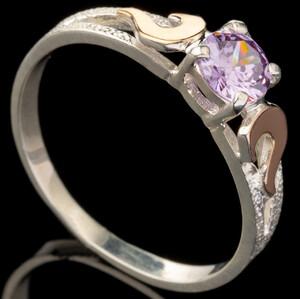 Серебряное кольцо 925 пробы с золотом арт. 547к