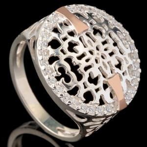 Серебряное кольцо 925 пробы с золотом арт. 550к