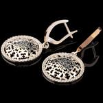Серебряные серьги 925 пробы с золотом арт. 550с