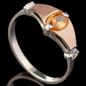 Серебряное кольцо 925 пробы с золотом арт. 566к