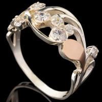 Серебряное кольцо 925 пробы с золотом арт. 573к
